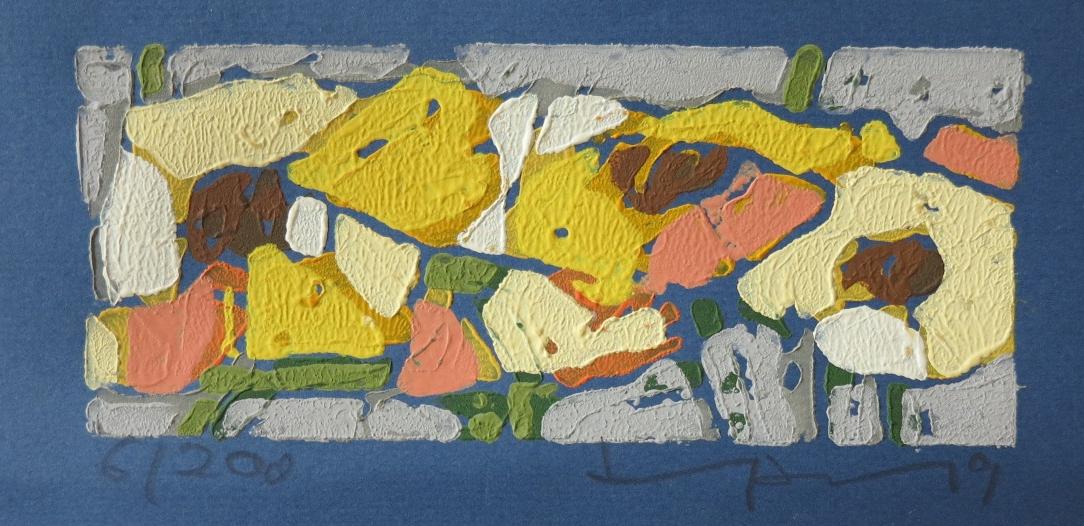 Rosen gelb (auf blauem Papier) - 2019