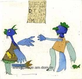Zwei arglose Hühner (blau)