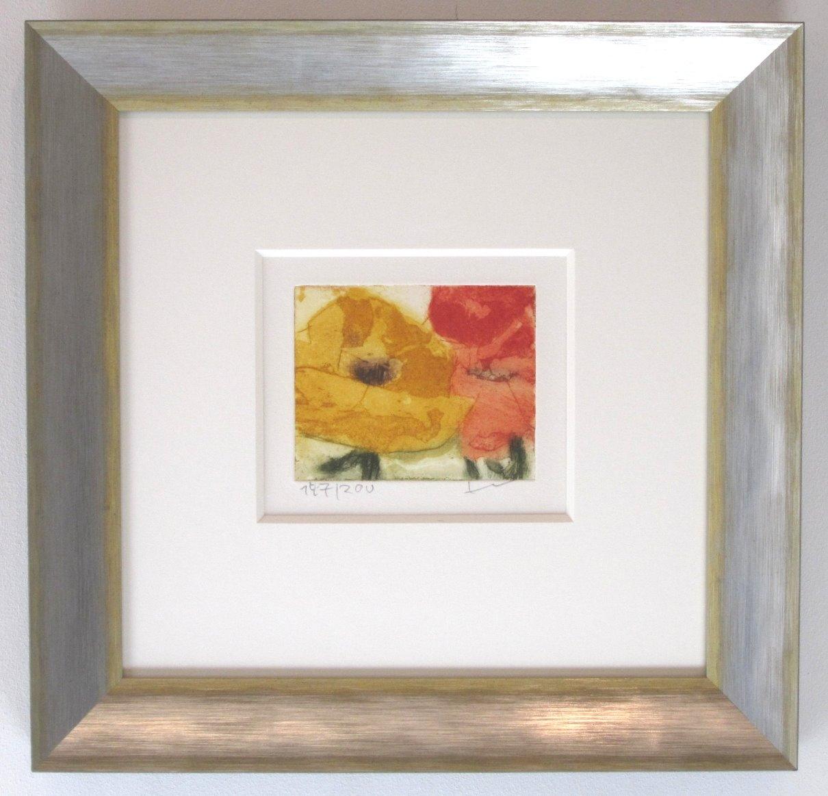 Rosen gelb/rot, gerahmt silber-gelb