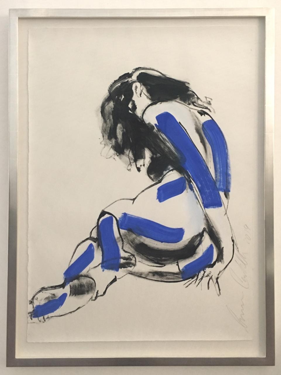 Rückenakt (blaue Streifen), gerahmt