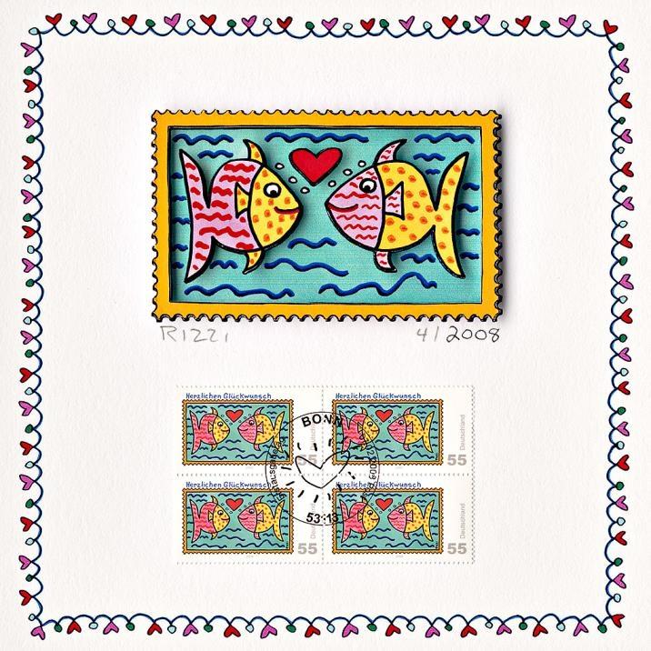 Herzlichen Glückwunsch (Briefmarke, Fische)