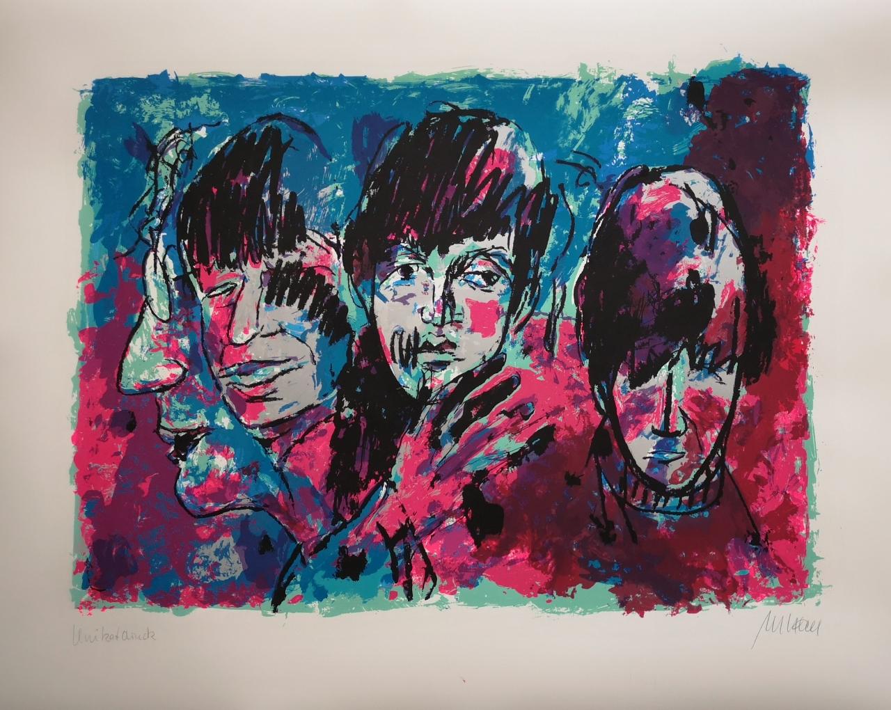The Beatles - Unikatdruck - No. III - Variante Blau-Violett-Rot