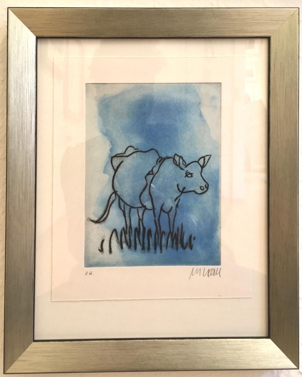 Die Blaue Kuh (geradeaus blickend), gerahmt
