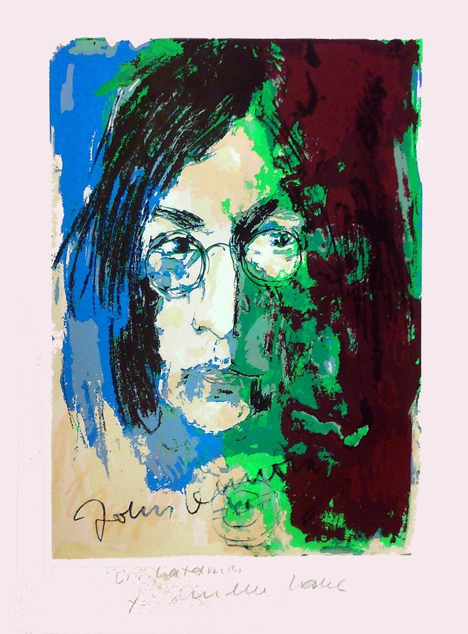 John Lennon - Unikatdruck - Variante blau/rose/grün/bordeaux