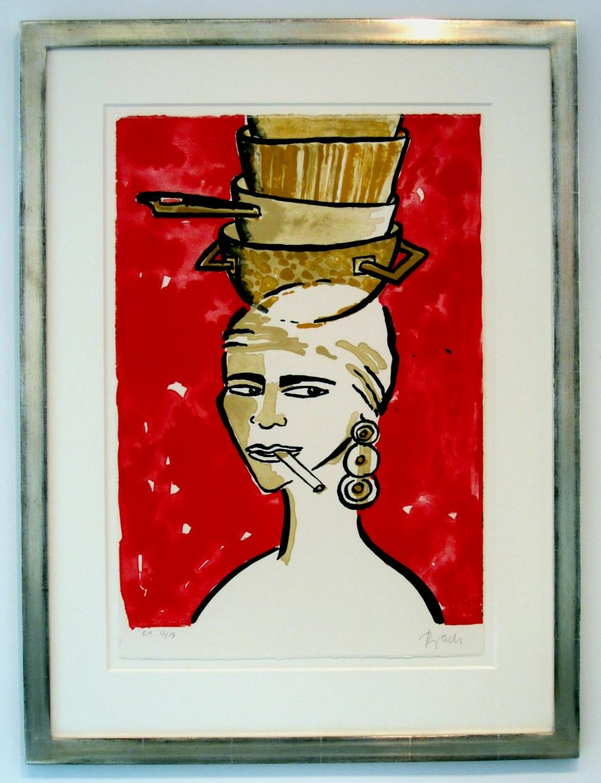 o.T. (Frau mit Töpfen auf Rot) im Vergolderrahmen