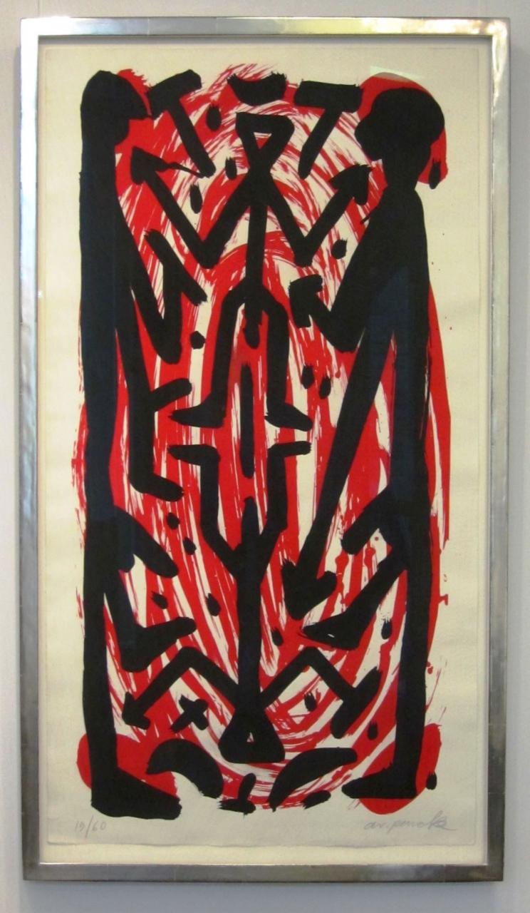 o. T. (schwarz/rot), im Vergolderrahmen