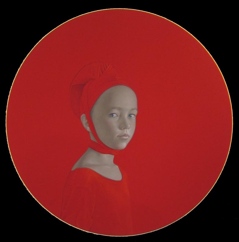 Sin Titulo (rotes Rundbild, Mädchenbildnis)
