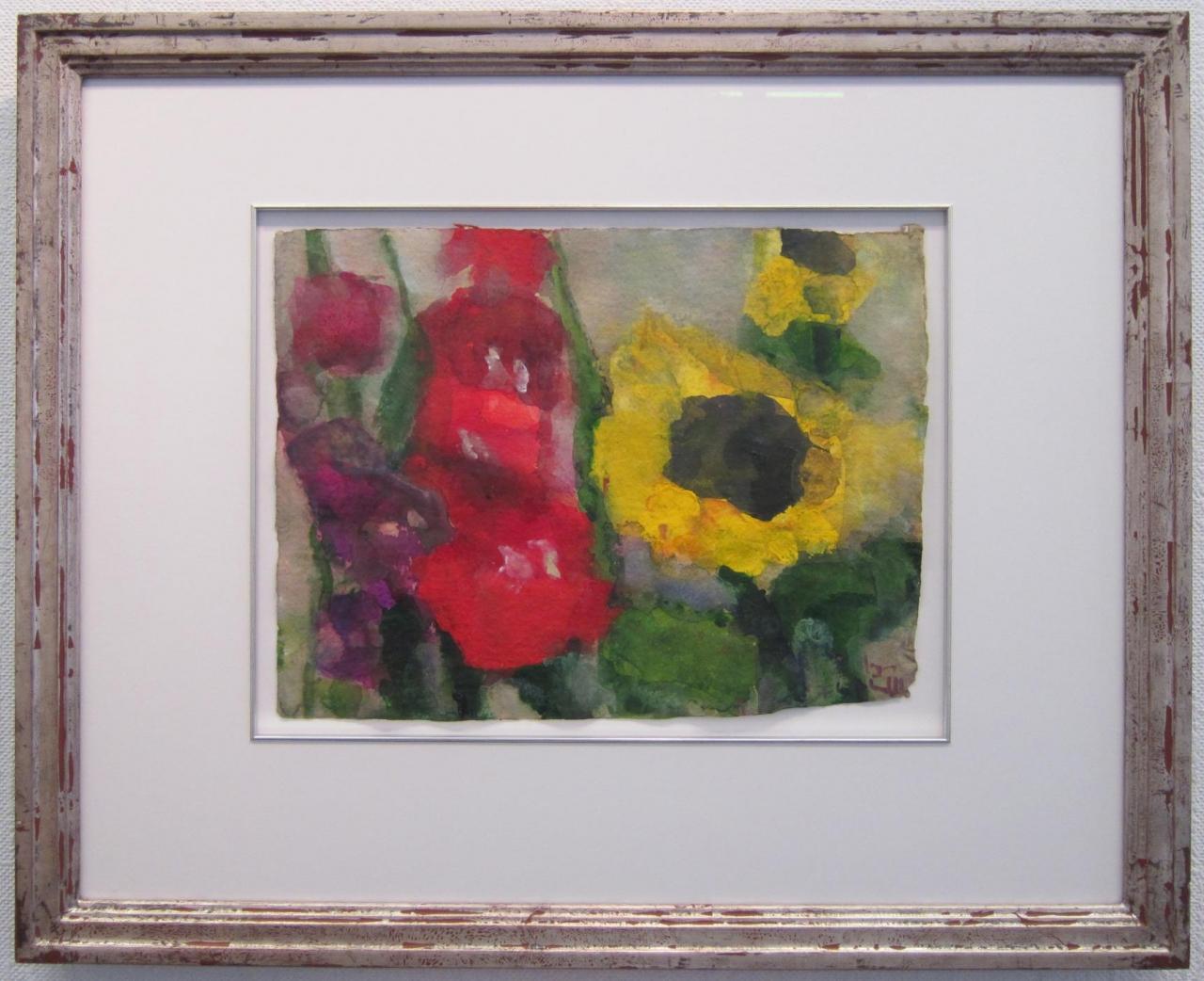 Gladiolen/Sonnenblumen, gerahmt