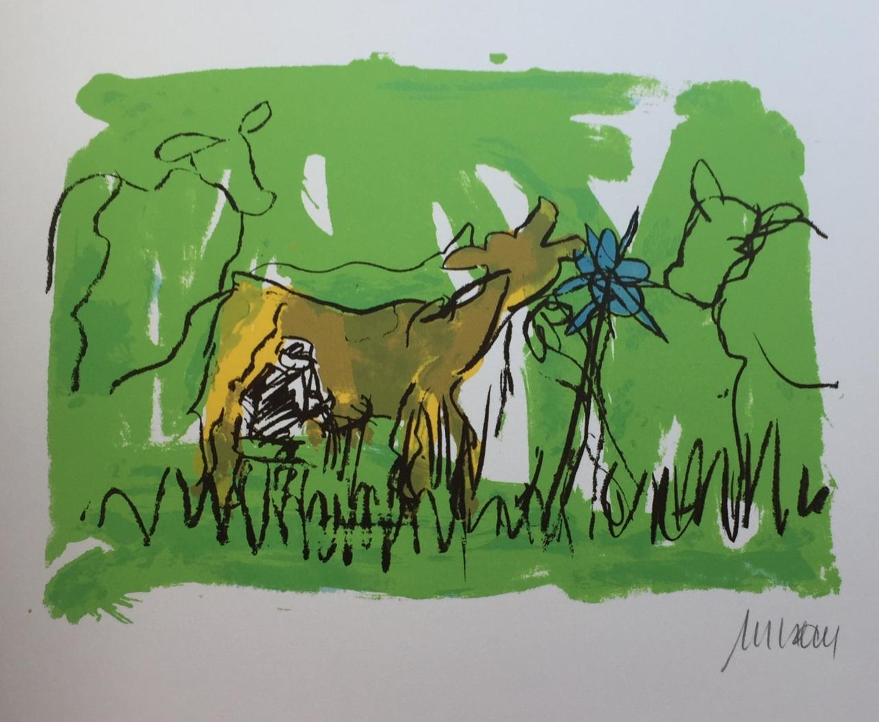 Sie kicherte beim Melken - Unikatdruck - No. III - (Variante grün mit gelber Kuh)