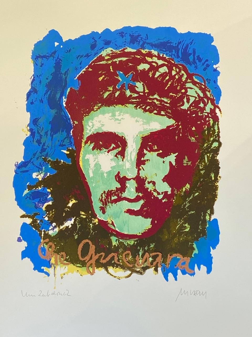 Che Guevara - Unikatdruck XII (Blauer Hintergrund)