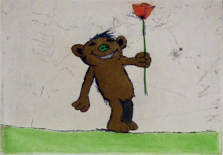 Bär und Rose