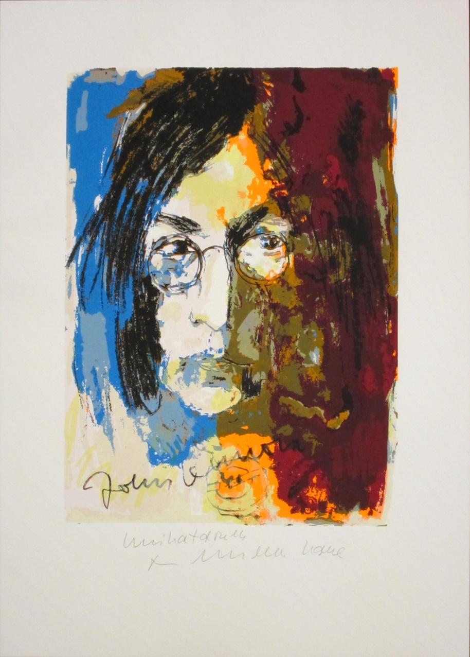 John Lennon - Unikatdruck - Variante blau/olive/bordeaux
