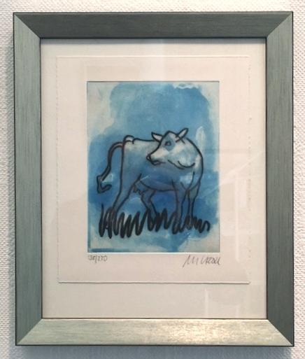 Die Blaue Kuh (seitwärts blickend), gerahmt
