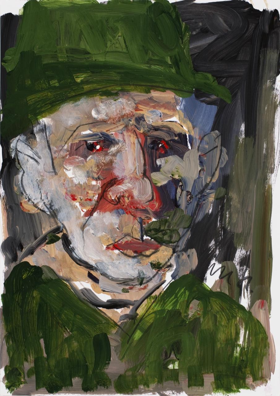 Mann mit grünem Hut